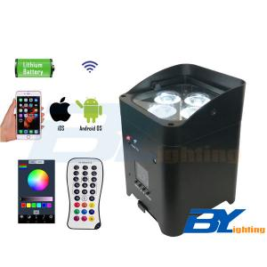 BY-864A 4 x 15W 6 in 1 RGBWA+UV Wireless DJ Uplighting With Rechargeable Battery and Mobile App Control