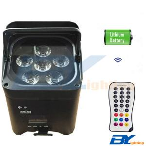 BY-866C 6x15W RGBWA+UV 6in1 Mini LED wireless rechargeable battery uplighting with IR remote control